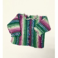 knitwear, Frilly Cardi, purple and green