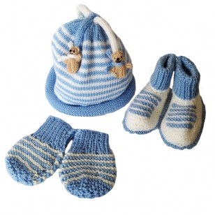 Blue Stripe Mitts, 0/6 months