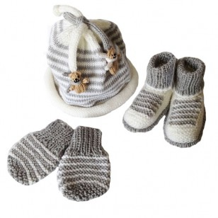 Grey Newborn Knitted Set, 0/6 months