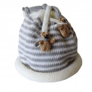 Grey Stripe Teddy Hat