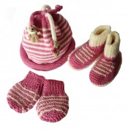 Pink Newborn Knitted Set, 0/6 months