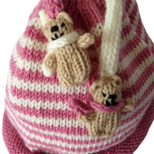 Pink Stripe Teddy Hat
