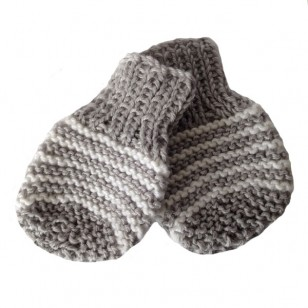 Grey Stripe Mitts, o/6 months only